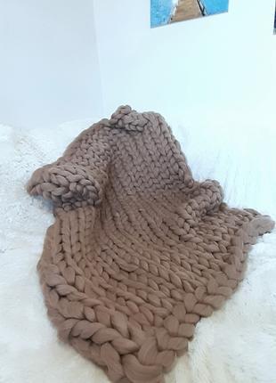 Плед из шерсти Мериноса крупной вязки