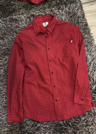 Коттоновая красная клетчатая рубашка timberland
