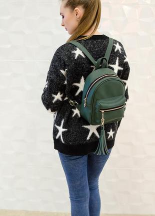 Эксклюзивный женский рюкзак изумрудного (зеленого ) цвета