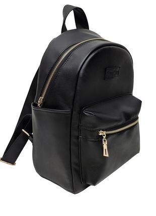 Мужской черный рюкзак, кожзам