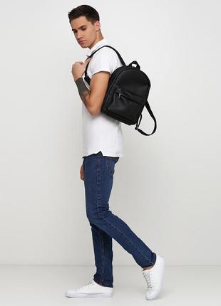 Мужской черный рюкзак для прогулок, кожзам