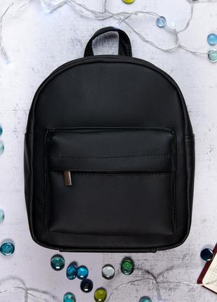 Женский черный рюкзак для прогулок, кожзам