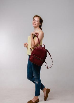 Женский бордовый портфель для прогулок и учебы