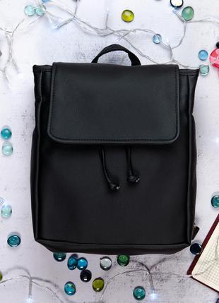 Вместительный черный школьный рюкзак для учебы, кожзам