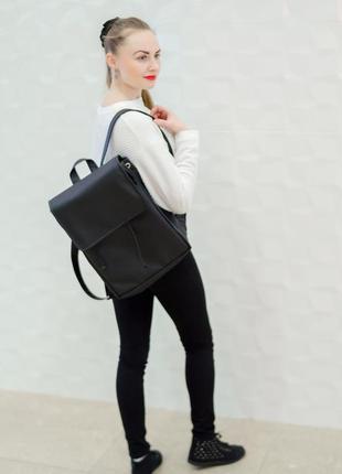 Женский черный рюкзак для путешествий, кожзам