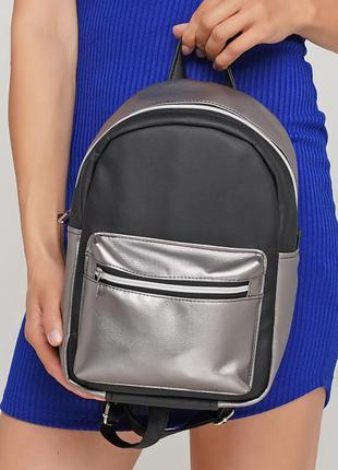 Женский черный рюкзак с серебристым карманом, кожзам