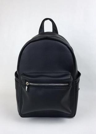 Женский черный рюкзак в спортзал, кожзам