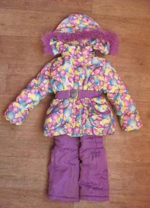 Зимний костюм на девочку комбинезон рост 110-120