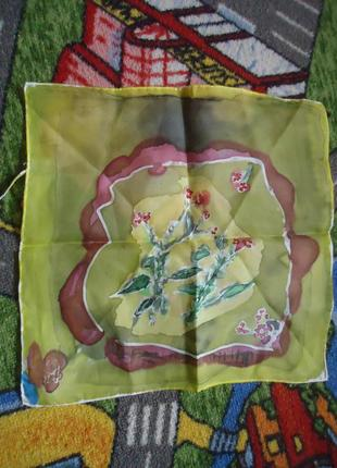 Шелковый карманный платок/платочек, ручная работа