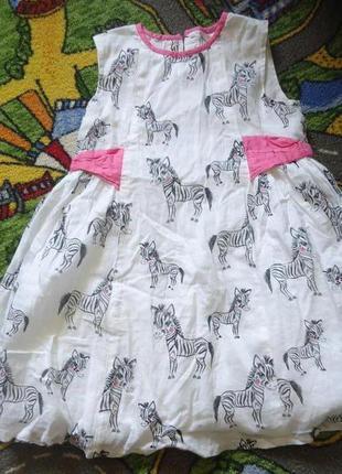 Детское милейшее платье с зебрами