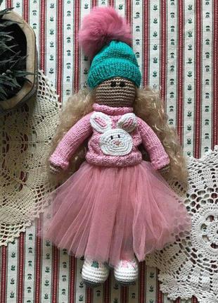 Вязаная кукла ручная работа
