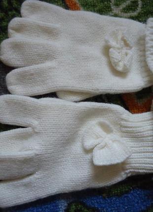 Перчатки для девочки с бантиками 7-10 лет