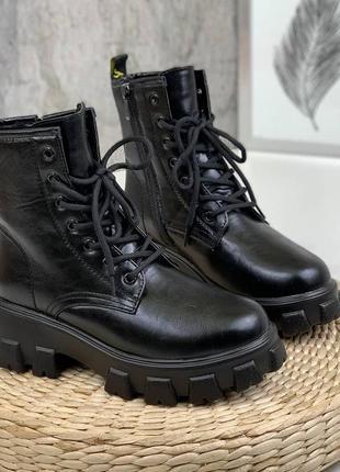 Черные зимние мартинсы ботинки берцы на меху 36,37