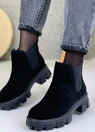 Зимние ботинки челси на меху на платформе 36-40