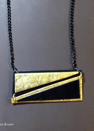 Колье треугольники(черно-золотая серия)