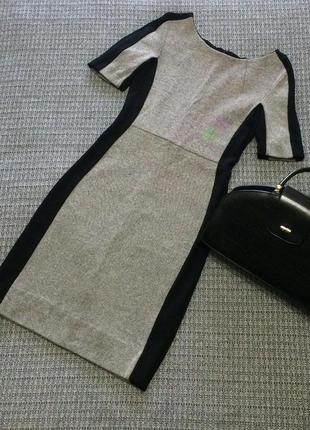 Платье элегантное по фигуре серое с чёрными вставками коттон