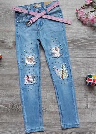 Бомбезні стрейчеві джинси,  з пайетками, джинси стрейч