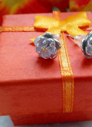 Серьги-гвоздики, серебро 925