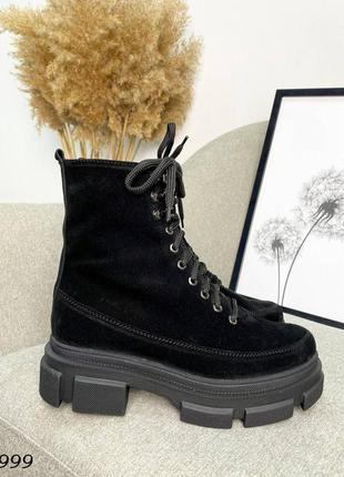 Замшевые деми ботинки на плоской подошве. 36-41
