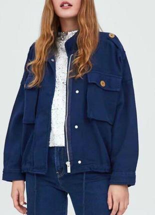 Zara крутая ветровка хлопковая льняная куртка парка рубашка...