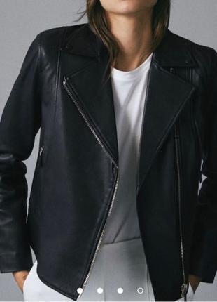 Брендовая кожаная косуха /куртка от Massimo Dutti