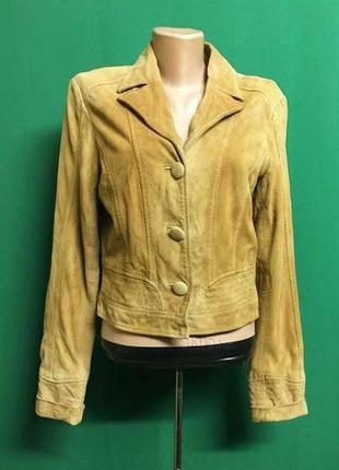Весенняя рыжая короткая куртка-пиджак из замшевой лайки xs/s