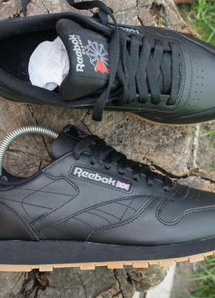Кроссовки reebok classic leather black оригинал