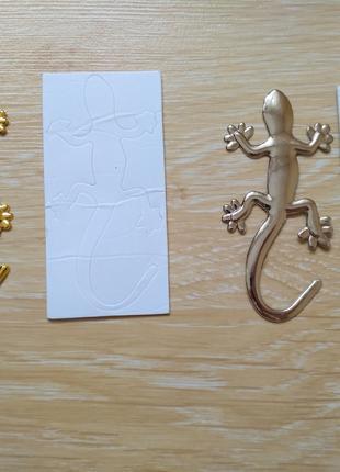 Наклейка Металлическая Ящерица Золото, Серебро .Тюнинг авто