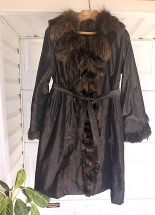 Меховое пальто  ,курточка 2в1 миди с мехом енота + кролика ⭐️