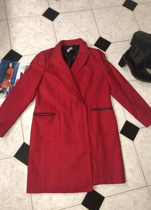 Шерстяное пальто миди  с кожаными вставками бренд planet  ❤️