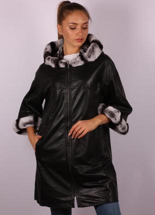 Плащ/пальто из натуральной кожи с натуральным мехом