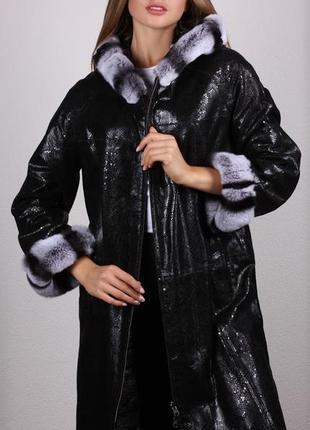 Пальто из натуральной кожи с натуральным мехом