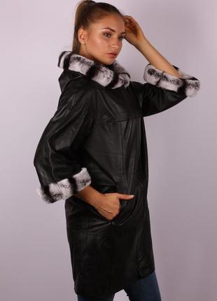 Пальто кожа натуральная черное большой размер с мехом распрода...