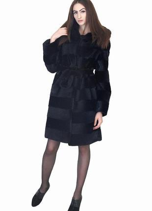 Пальто зимнее женское натуральный мех стриженый черное распрод...