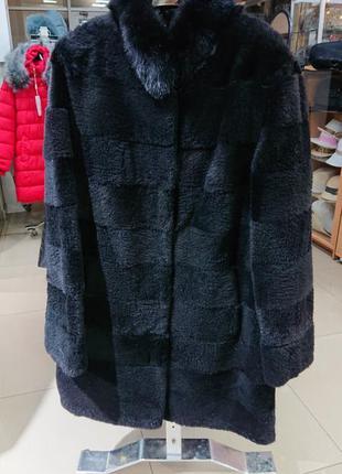 Пальто з натурального хутра зимнее ондатра женское черное мехо...