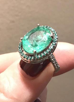 Кольцо серебро  с натуральным зеленым турмалином