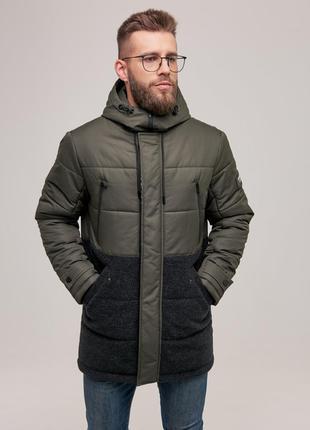 Мужская теплая зимняя куртка хаки чоловіча тепла зимова куртка...