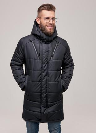 Мужская теплая зимняя куртка черная чоловіча тепла зимова курт...