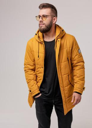 Мужская теплая зимняя куртка (горчица) чоловіча тепла зимова к...