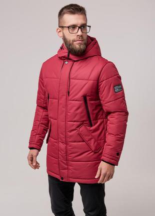 Мужская теплая зимняя куртка (красная) чоловіча тепла зимова к...