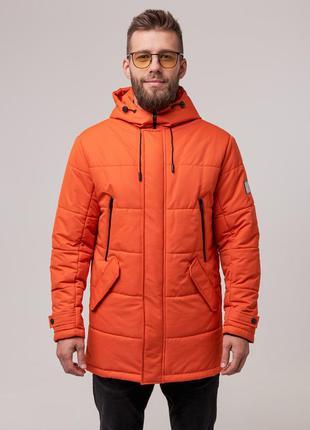 Мужская теплая зимняя куртка (оранж) чоловіча тепла зимова кур...