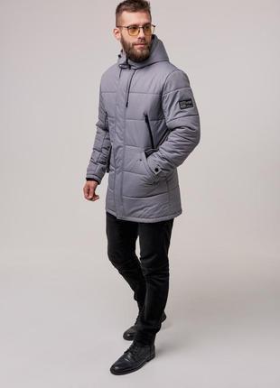 Мужская теплая зимняя куртка (серая) чоловіча тепла зимова кур...