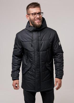 Мужская теплая зимняя куртка {черная} чоловіча тепла зимова ку...