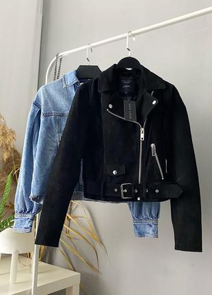 Кожаная куртка косуха замш натуральный new look premium