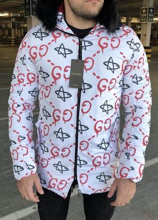 Gu jacquard white/red parka jacket