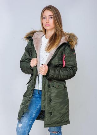 Жіноча аляска olymp n-3b slim fit, khaki