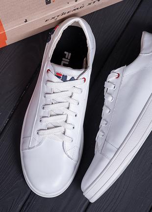 Мужские кожаные кеды  FILA Soft White Leather