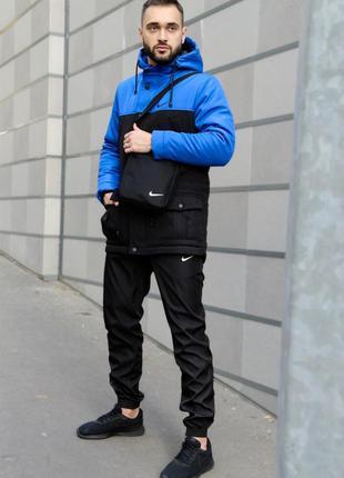 Комплект парка найк сине- черная +штаны president +барсетка в ...