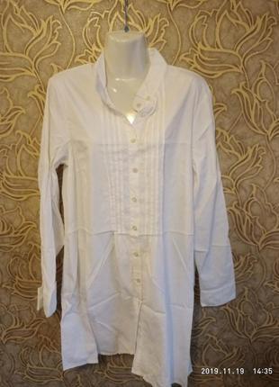 Белоснежная стрейчевая белая длинная рубаха - туника kello