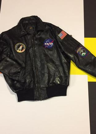 Шкіряний бомбер alpha industries leather nasa bomber l_xl_нови...